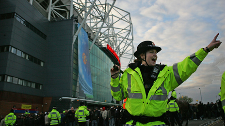 Police officer at football match