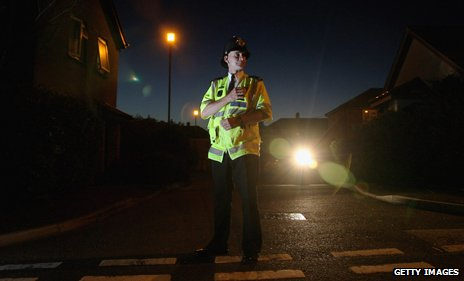Police officer on night patrol