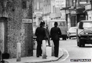 Officers patrolling Brick Lane, east London,  in 1978