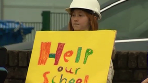 A young protester at Groeslon primary school
