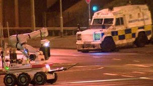 The scene of the alert in north Belfast