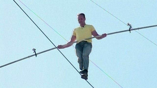 Nik Wallenda on a tightrope