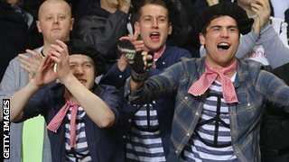"Newcastle fans dressed as ""Frenchmen"""
