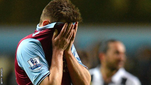 Aston Villa's Andreas Weimann during the game with Newcastle