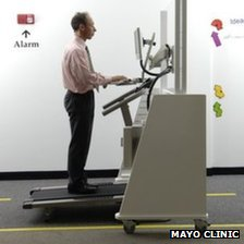 Dr James Levine on a treadmill desk