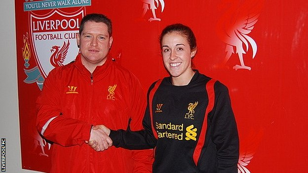 Liverpool Ladies manager Matt Beard and new signing Amanda Da Costa