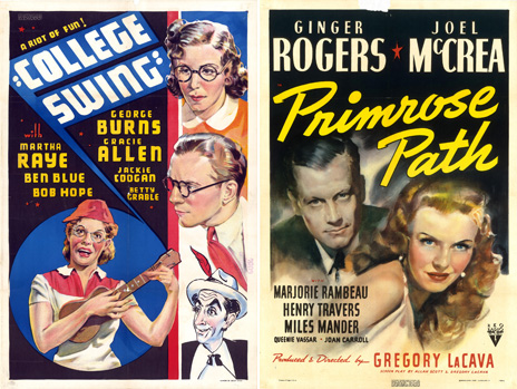 Posters of College Swing and Primrose Path from the Dwight M Cleveland Movie Poster Archive