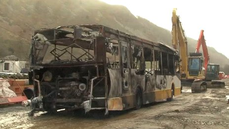 Burnt out bus in Dolgellau