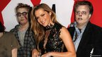 Actress Teresa Palmer and people dressed as zombies 