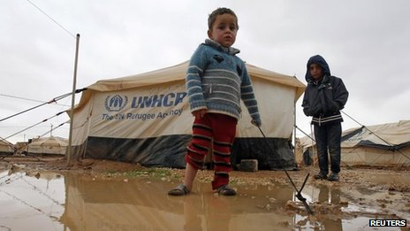 Syrian refugee children at the Zaatari camp in Jordan (8 January 2013)