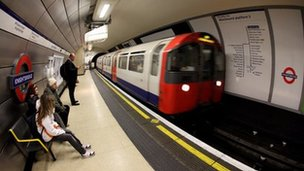 Tube train at Knightsbridge