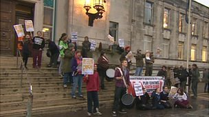A group from Save Southampton City Youth Centres protesting outside Southampton City Council offices