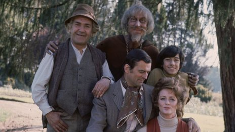 Geoffrey Bayldon (top centre) with the rest of the Catweazle cast