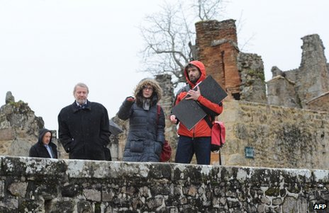 German investigators visit Oradour-sur-Glane, southern France, 29 January