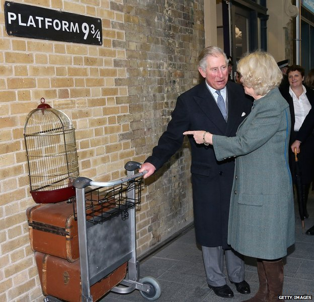 Prince of Wales and Duchess of Cornwall at Platform 9 3/4