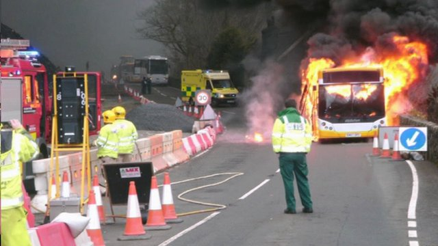 Bus in flames at Dolgellau
