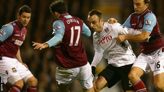 Fulham's Dimitar Berbatov and West Ham players