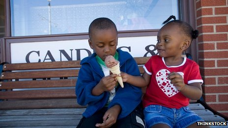 Two children sharing an ice cream