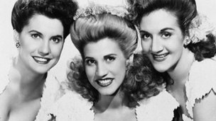 The Andrews Sisters in 1947. From left, Maxene, Patty and LaVerne