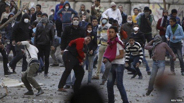 Protestors in Simon Bolivar Square, Egypt