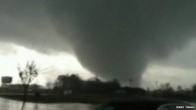 Tornado crashing through trees in Georgia USA