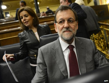 Spanish Prime Minister Mariano Rajoy in parliament in Madrid, 30 January