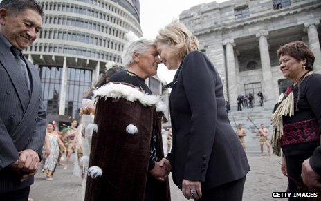 Meeting Maori elders in New Zealand, 2010