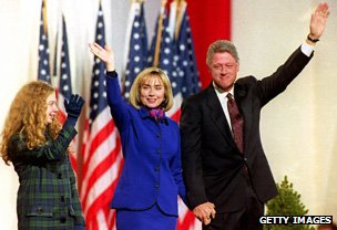 Chelsea and Hillary alongside husband Bill as he celebrates winning the 1992 presidential election