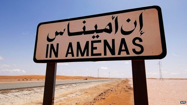 A desert road sign near In Amenas, eastern Algeria (undated image)
