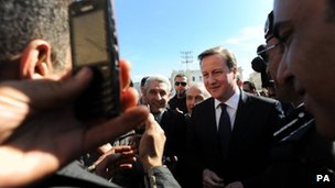 David Cameron in Martyrs' Square in Tripoli