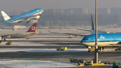 Planes at Schiphol airport