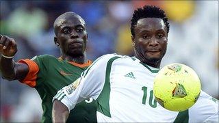 Nigeria's Mikel Obi in action against Burkina Faso