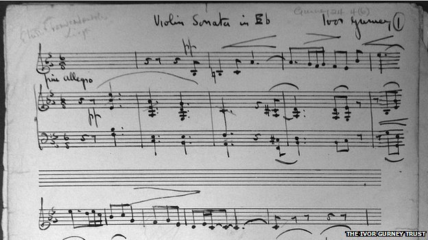The original manuscript of Ivor Gurney's Sonata in E Flat Major