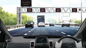 Artist impression of a stretch of the M1 seen from a driver&#039;s viewpoint