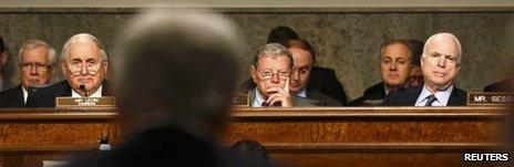 US Senators Carl Levin, James Inhofe and John McCain during a Senate hearing on 31 January 2013