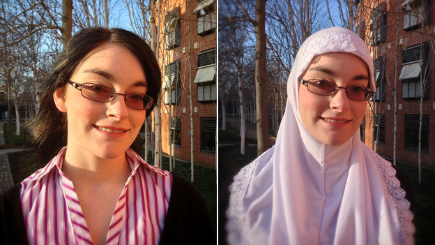 Sarah Rhodes, with and without her hijab
