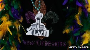 Super Bowl merchandise seen on Bourbon Street prior to the start of Super Bowl XLVII in New Orleans