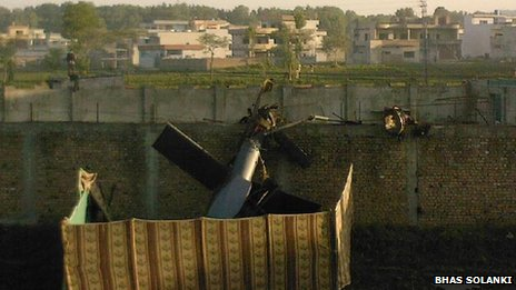 Wreckage of US helicopter which crashed in Abbottabad on 2 May 2011