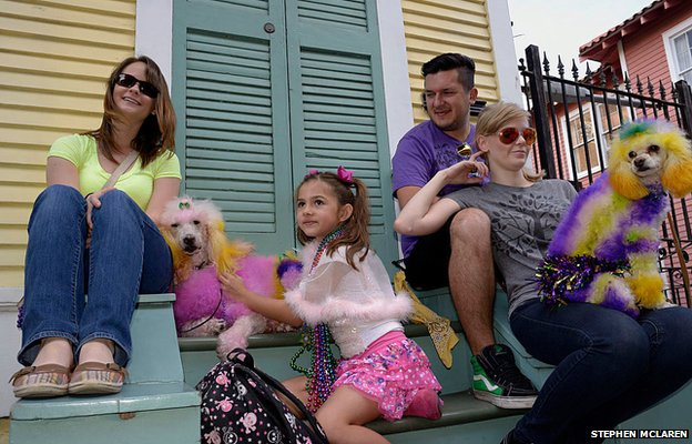 Dog owners celebrate Mardi Gras in the French Quarter