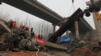 Scene of explosion on a highway near Sanmenxia, Henan province, on 1/2/13