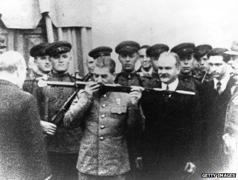 British Prime Minister Winston Churchill presenting Josef Stalin of Russia with the Sword of Stalingrad in acknowledgement of the victory, Tehran, 29 November 1943