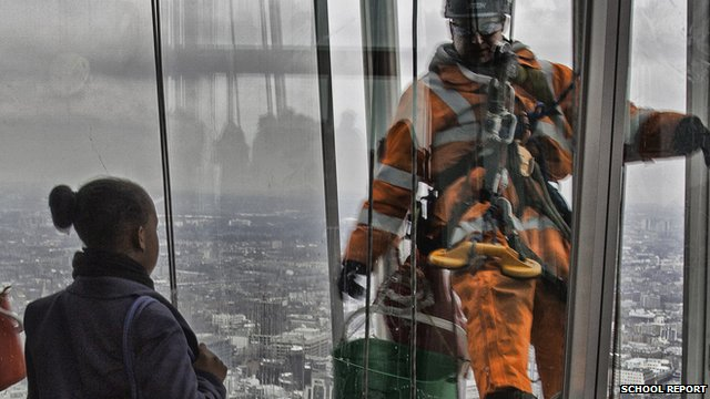Harris Academy School Reporter and a window cleaner at The Shard
