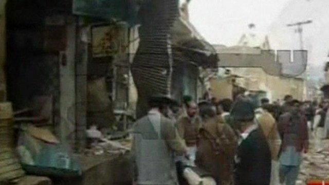 Damaged shops in Hangu