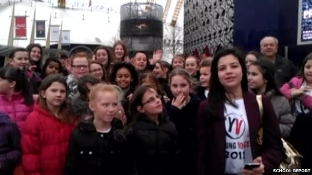 Students from The Priory School in Kent outside the 02