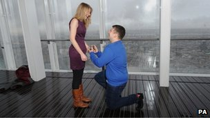 James Episcopou, 22 from Essex, proposes marriage to his girlfriend Laura Taylor, 22 from Essex