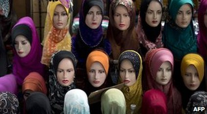 Hijabs displayed on mannequins