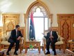 Prime Minister David Cameron meets Libyan President Magarief at the President's Office in Tripoli
