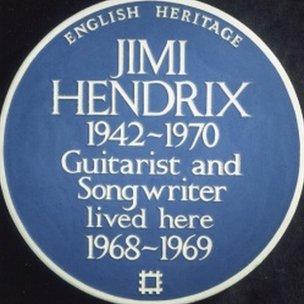 Blue plaque for Jimi Hendrix