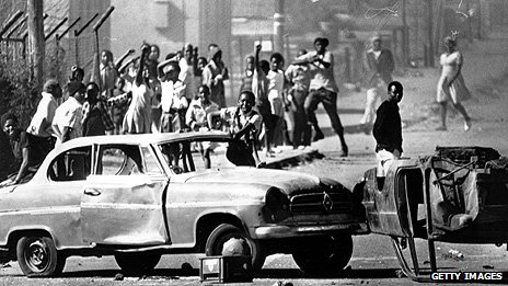 Protestors in Soweto in 1976