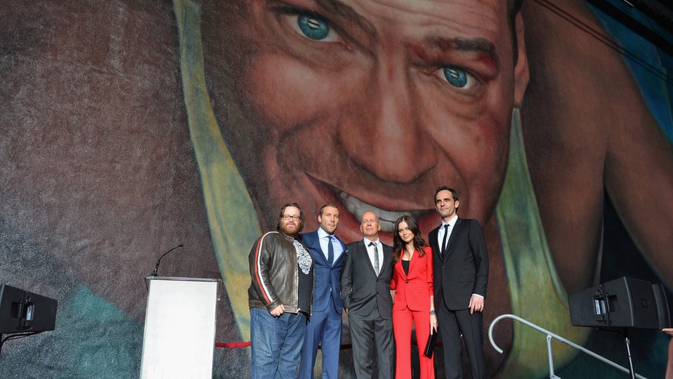 Bruce Willis at the unveiling of a Fox Studios mural celebrating 25 years of Die Hard.